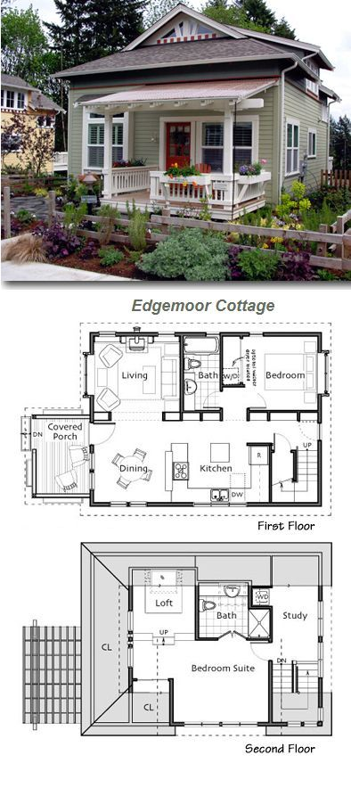 Lovely garden and paint job help to show off this little for Tiny bungalow house plans