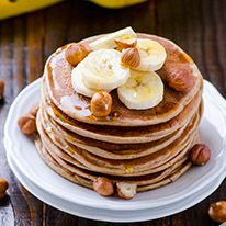 Delicious protein pancakes made with plant based protein and taste just like regular pancakes.