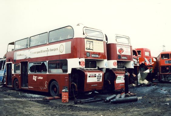 https://flic.kr/p/6r8CNV | Lothian Atlanteans (scrap yard) | A pair of Lothian Leyland Atlanteans, GFS 434N & GFS 420N, being broken up at a Barnsley yard. Strangely, they still look rather smart, even in their death throes.