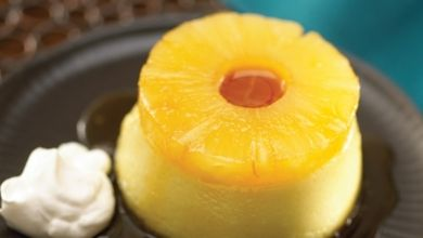 Pina Colada Crème Caramel with Pineapple Spiked Chantilly Cream - Dole | http://food-management.com/bakery-desserts/pina-colada-cr-me-caramel-pineapple-spiked-chantilly-cream