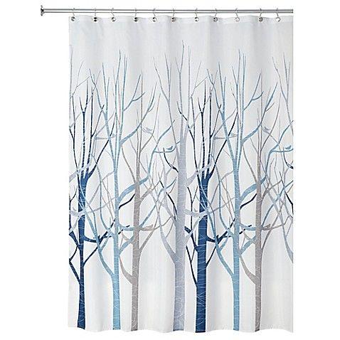 Idesign Forest Fabric Shower Curtain In Blue Grey Blue Bathroom