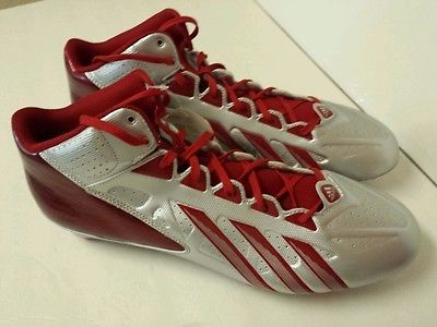 Mens #ADIDAS Filthy Quick Mid D FOOTBALL CLEATS Size 15 Shoes CLEATs Red/Silver #Size15Shoes