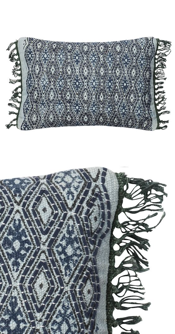 Liven up your seating with this colorful blue and gray tribal print design. Our Miriam pillow is made with cotton and polyester fabrics and features a decorative tassel trim. Made in India. Dry clean o...  Find the Miriam Pillow, as seen in the Bohemian Summer Solstice Collection at http://dotandbo.com/collections/bohemian-summer-solstice?utm_source=pinterest&utm_medium=organic&db_sku=121020
