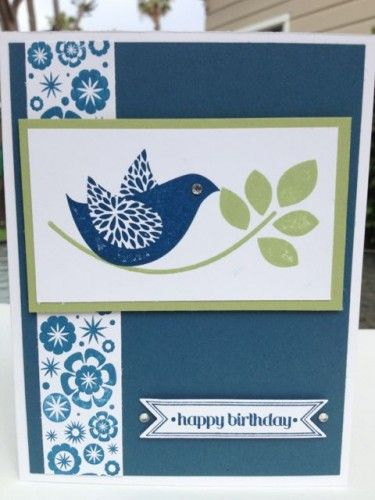 Handmade Birthday Card with Blue Bird And Olive Branch | cardsbylibe - Cards on ArtFire