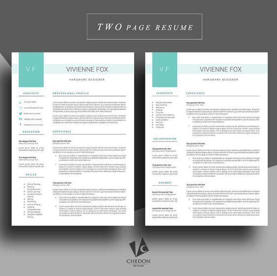 resume template  cv template  professional  resume cover letter template  lebenslauf  creative