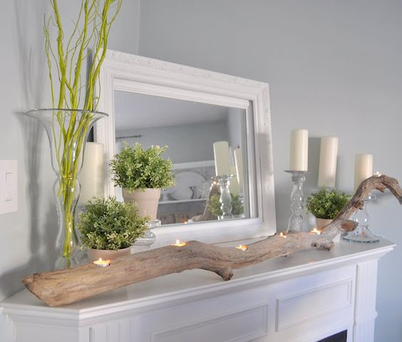 Gorgeous Spring Mantels {decorate mantel} | Home Stories A to Z.  branch with candles