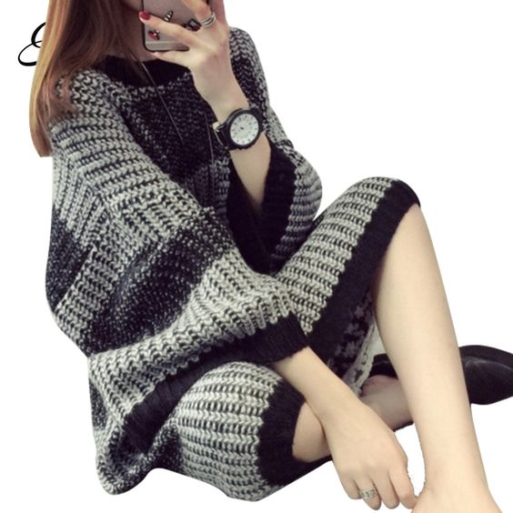 Find More Pullovers Information about H.SA Women Oversized Long Sweater Pullovers Oneck Striped Plus Size Jumpers Casual Winter Loose Pullovers Christmas sweater,High Quality christmas paragraph,China sweater skull Suppliers, Cheap sweater coats on sale from Summer Fashion Costume CO.,LTD on Aliexpress.com
