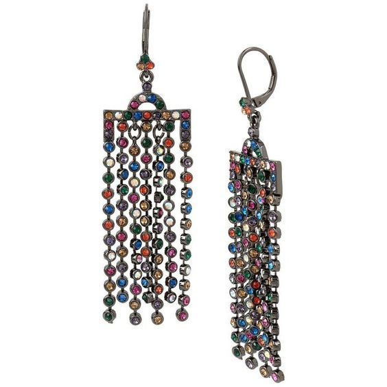 Betsey Johnson Confetti Hematite-Tone Fringed Chandelier Earrings ($65) ❤ liked on Polyvore featuring jewelry, earrings, multi, betsey johnson, betsey johnson jewelry, fringe earrings, fringe jewelry and earring jewelry