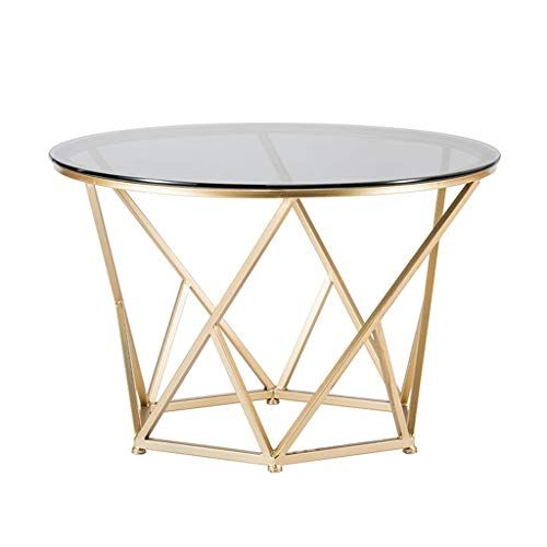 Round Large Coffee Table White Marble Tabletop Metal Wrought