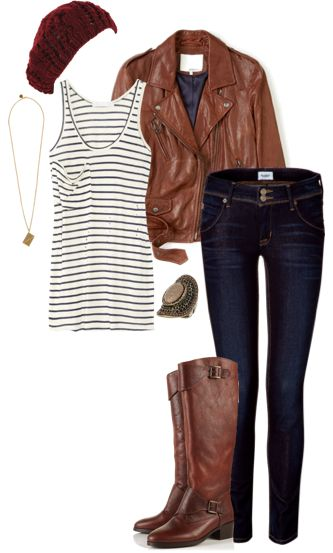 Love the stripes and jacket!