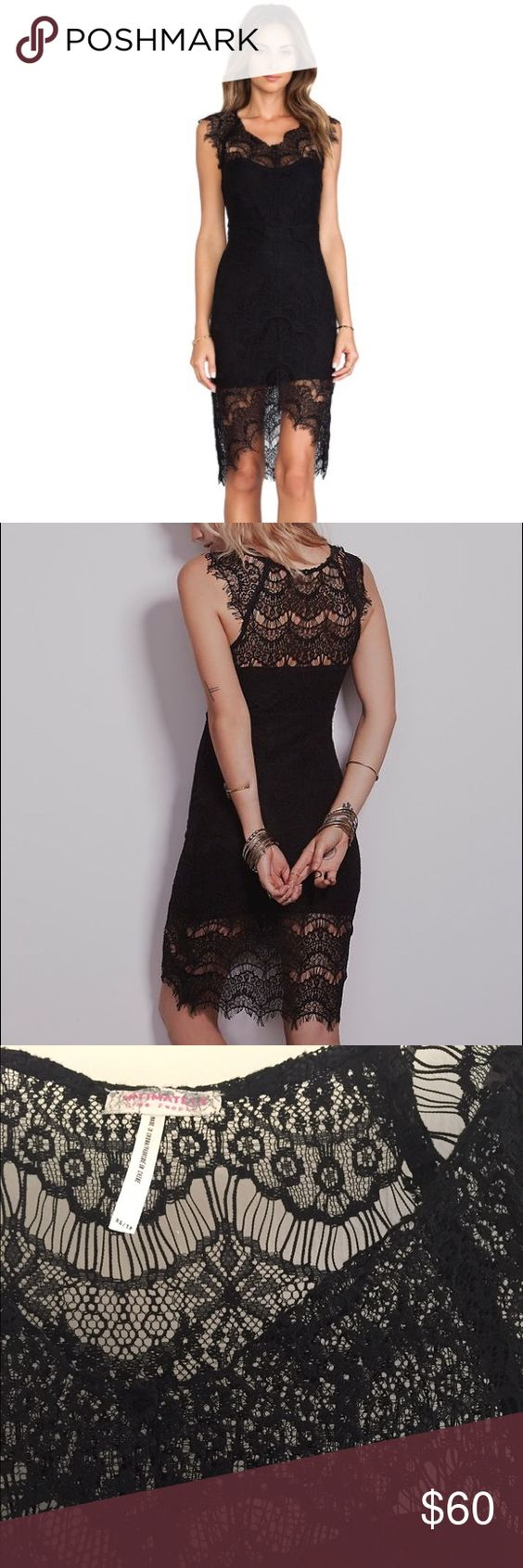 BNWT Free People Peekaboo Lace Slip in black This dress is absolutely gorgeous but I've never found a reason to wear it! Free People Dresses High Low