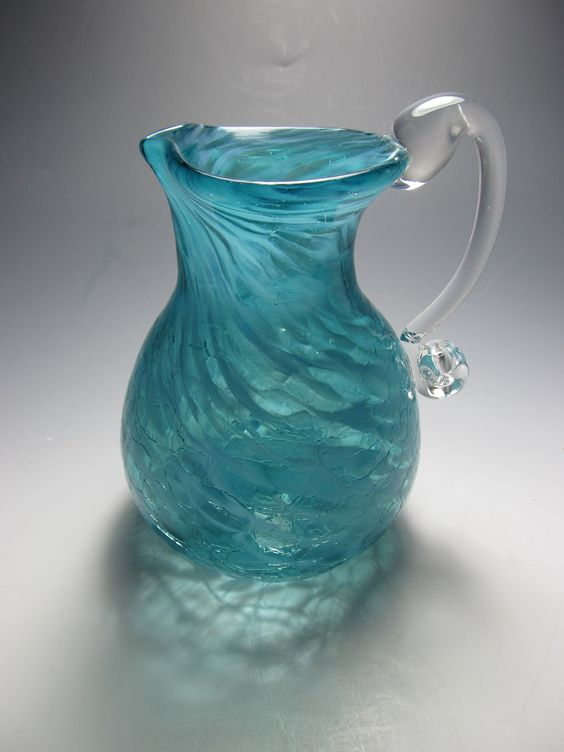 Blown Glass  Pitcher Vase- Crackle Glass - Pitcher  - Creamer - Handmade Flower Vase Pitcher - Aqua Glass. $55.00, via Etsy.