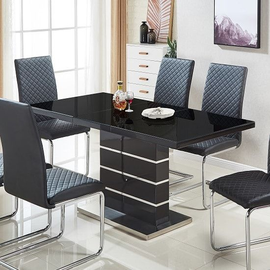 Parini Glass Extendable Dining Table Rectangular In Black Gloss In