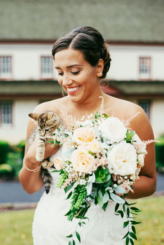 A bride and her kitty friend: Photography : Anna Reynal Read More on SMP: http://www.stylemepretty.com/pennsylvania-weddings/2016/02/15/vintage-chic-farm-house-wedding-in-lewisburg/