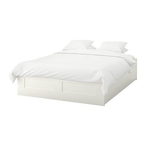 Brimnes Bedframe Met Opberglades Wit Luroy 160x200 Cm Ikea Brimnes Bett Bett Lagerung Ikea Bett