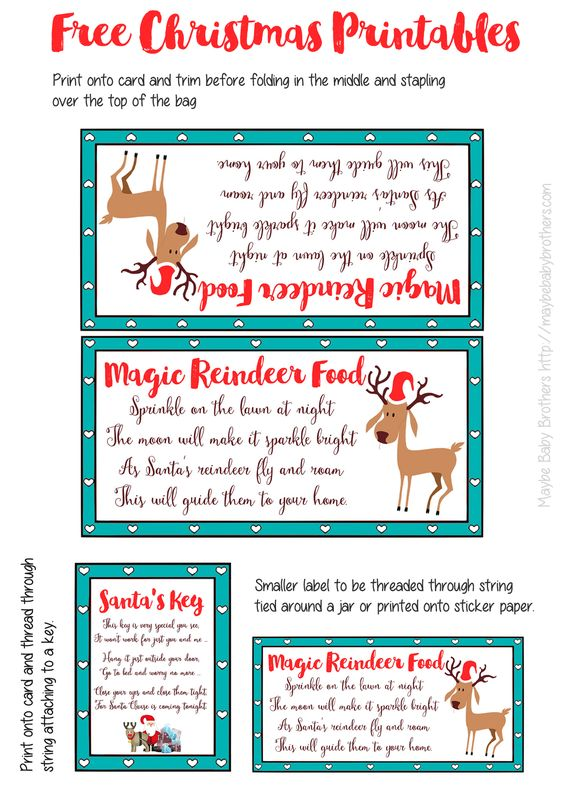 FREE Printable labels for your Magic Reindeer Food and Santa's Key to put in your Christmas Eve Box!