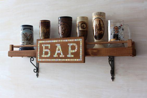 Wooden Bar Shelf Rustic Home Decor Wooden Wine Rack