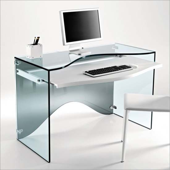 glass computer desk from Tonelli
