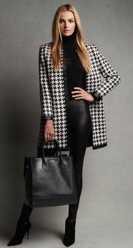 Ralph Lauren Black Label Adelle Woven Leather Houndstooth Coat