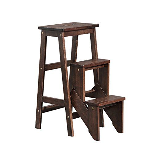 Solid Wood Collapsible Step Stool 3 Steps Multifunction Ladder