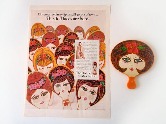 1960s Doll Face Mirror Max Factor Hand Mirror by RecycledWares, $38.00