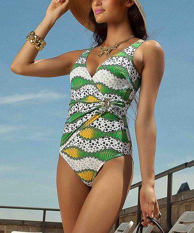 Another great find on #zulily! Orange & Yellow Love Stones One-Piece - Women by AquaVita Swim #zulilyfinds