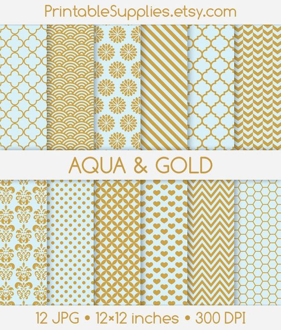 aqua and gold background clipart de damas bleu or