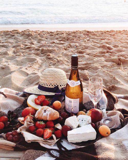 doesn't get any better-appetizers & wine on the beach