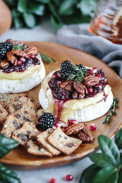 Baked Brie with Blackberry Compote and Spicy Candied Pecan