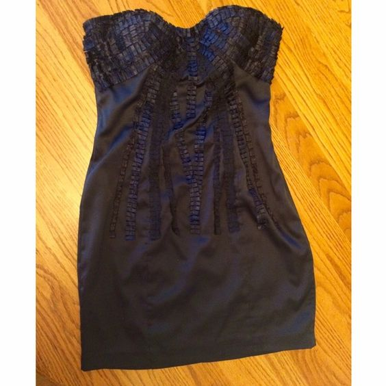 Bebe cocktail dress Beautiful navy blue Bebe cocktail dress; Size small; Worn once; In perfect condition! bebe Dresses Mini