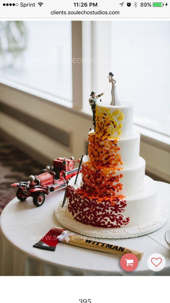 Firefighter wedding cake