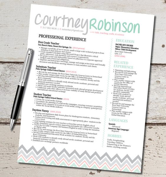 The Courtney Resume Template Design - Teacher - Marketing - Sales - sales and customer service resume