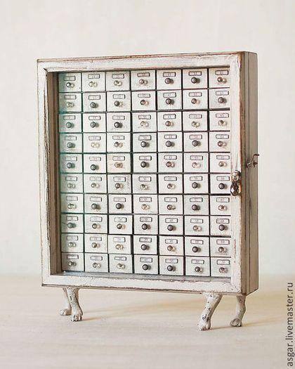 Мини-комоды ручной работы. Ярмарка Мастеров - ручная работа Альфред. Миниатюрный картотечный шкаф.. Handmade.