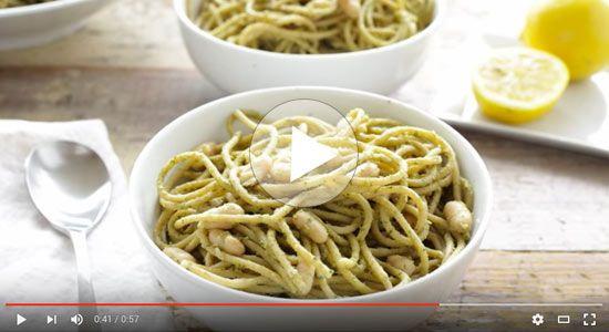 pesto pasta with white beans