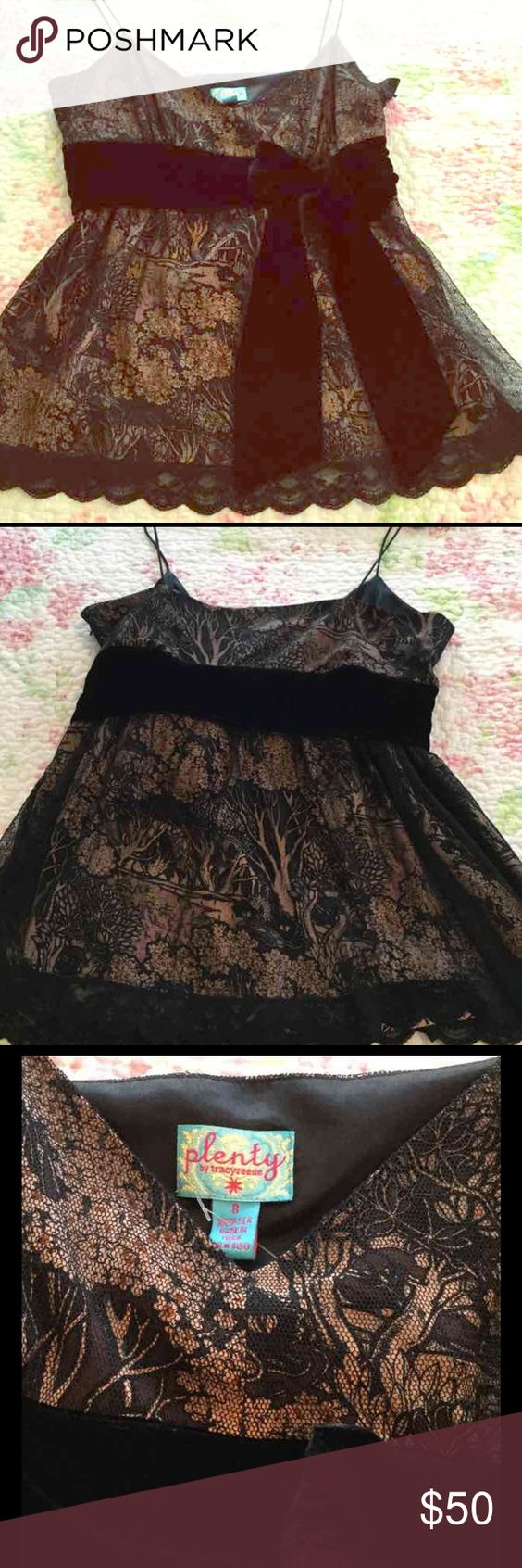 """Gorgeous Formal Top w Bohemian Flare Never worn!! 100% Silk with a gorgeous lining and black lace with scalloped trip overlay.  Black velvet tie sash and hidden side zipper.  Just lovely and designed by Tracy Reese for Anthropology.  Her """"Plenty"""" clothing line is fun yet sophisticated . Tracy Reese Tops Camisoles"""
