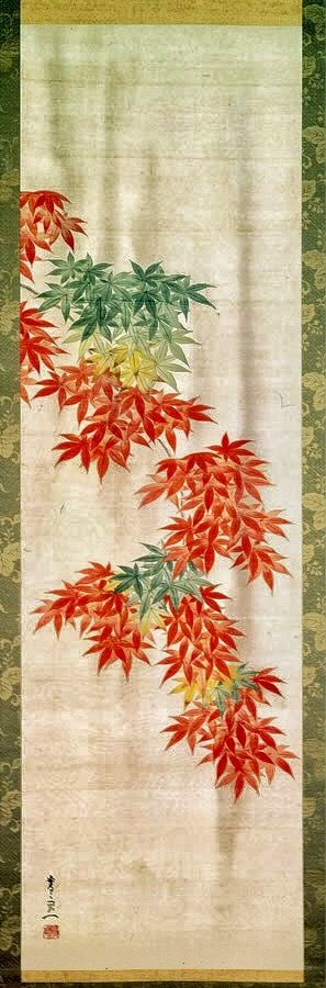 Suzuki Kiitsu. Japanese hanging scroll. Green and red Maple leaves. Nineteenth century. Price Collection.