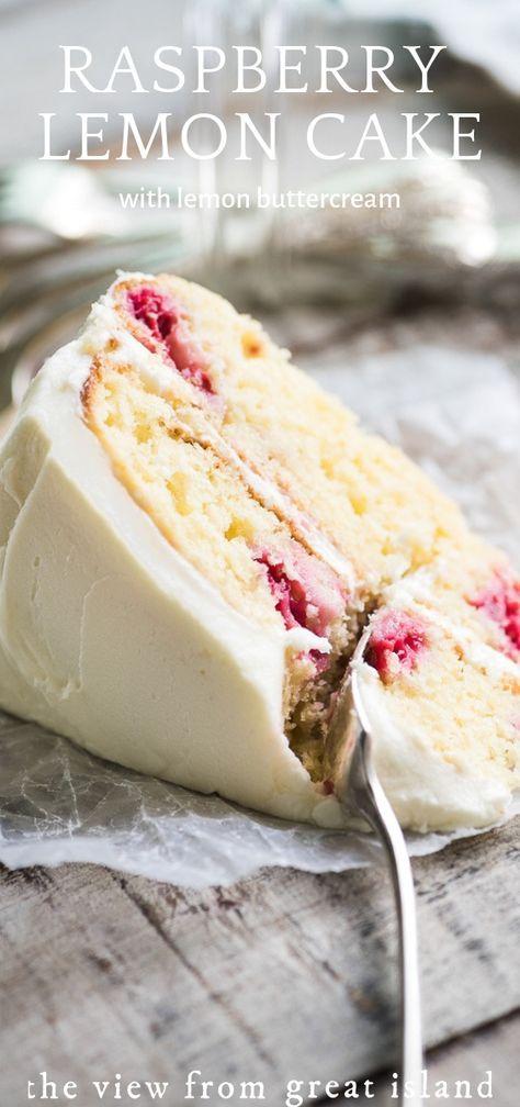 My Raspberry Lemon Tea Cake recipe is a layer cake made with yogurt, fresh raspberries, and a fresh lemon buttercream frosting. #easy #recipe #layer #cake #dessert #fromscratch #yogurt #birthday #wedding #Greekyogurt