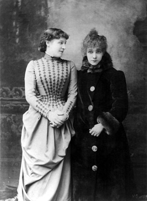 "Lillie Langtry and Sarah Bernhardt, 1887 (wonder what they were talking about? maybe about ""their common friend"" the Prince of Wales?:"