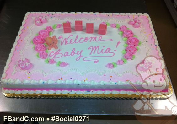 Social0271   Baby Shower Cake   Pink Roses, Baby Blocks and Baby Figurine Cake