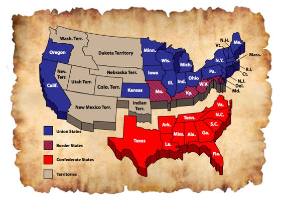 Map Of Union Confederate And Border States Civil War - Union confederate us territories and border states map