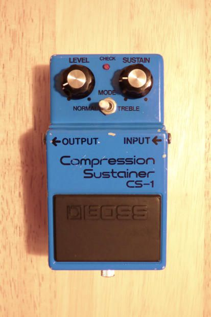 Boss CS-1 Compression SustainerThis pedal is in Good To Very Good condition for its age, and is working perfectly. This is one of the super early Boss pedals which features a 4 digit serial number (9900 for this one, which dates it to October 1980) and a Silver Screw! The CS-1 is a great old Boss...
