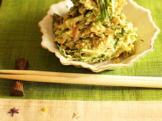 爽やか◎水菜とまるごとアボカドの白和えの画像