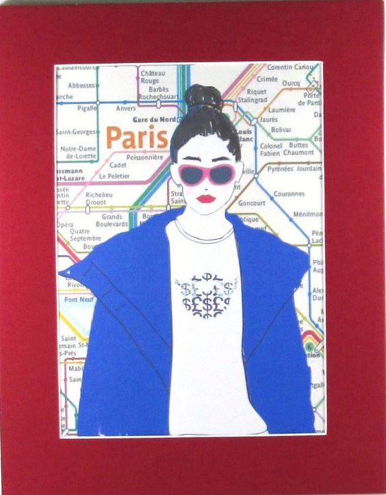 Paris Metro Print Paris Girl by NewJerseyAccents on Etsy, $18.00