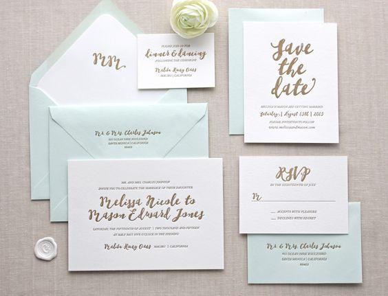 mint + gold stationery | @caron_perry MALIBU letterpress wedding invitation