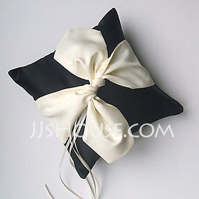 Ring Pillow - $19.99 - Wedding Ring Pillow In Black Satin With Cream Sash And Ribbons(103018395) http://jjshouse.com/Wedding-Ring-Pillow-In-Black-Satin-With-Cream-Sash-And-Ribbons-103018395-g18395