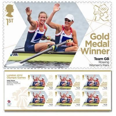 Gold Medal Winner Stamp - Helen Glover & Heather Stanning, Rowing, Women's Pairs. First gold medal at the 2012 games for Team GB,