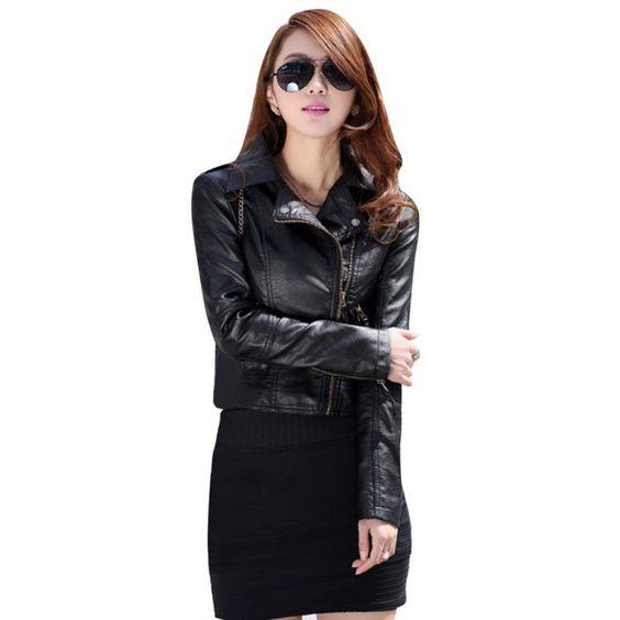 2016 Women Leather Motorcycle Zipper collar Punk Coat Biker Jacket Outwear Fashion Newest ZT1
