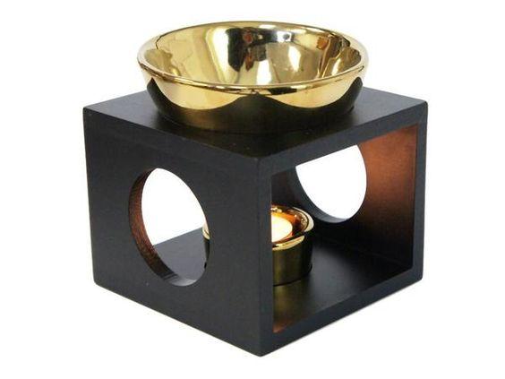 BLACK OIL BURNER SET,GOLD BOWL & T-LITE HLDR. Wooden Box Style. offer Price: $19.95  #fragrance #scantedcandle #scantedcandles #diffusers #fragranceoil