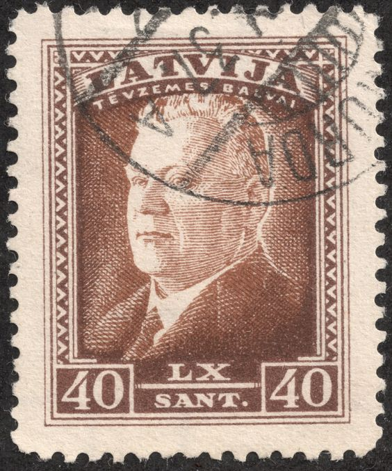 "Scan_Latvia 1937 Scott 191 40s light brown ""President Karlis Ulmanis"" In 1937, a nine stamp set was released with a portrait of President Ulmanis, in honor of his 60th birthday."