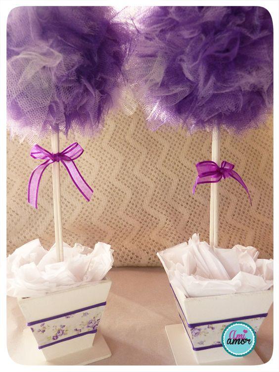 Centros de mesa con topes de tull y macetas decoradas - Macetas para centros de mesa ...